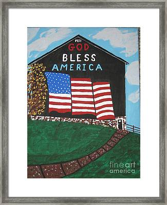 Framed Print featuring the painting God Bless America Barn by Jeffrey Koss
