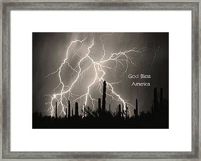 God Bless America Bw Lightning Storm In The Usa Desert Framed Print