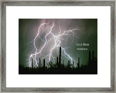 God Bless America Color Lightning Storm In The Usa Desert Framed Print by James BO  Insogna