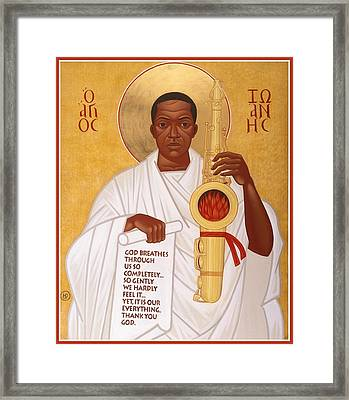 God Breathes Through The Holy Horn Of St. John Coltrane. Framed Print