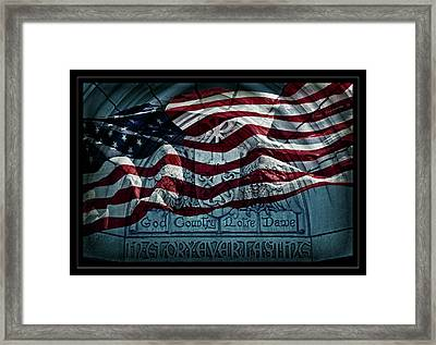 God Country Notre Dame American Flag Framed Print by John Stephens