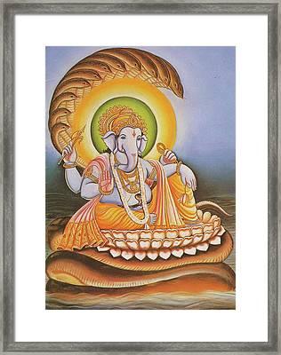 God Ganesha, Ganapati, Gajanan, Vinayak, Miniature Painting Of India, Online Art Gallery. Framed Print by Jagannath