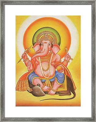 God Ganesha, Ganapati, Vinayak, Miniature Painting Of India, Online Art Gallery. Framed Print by Jagannath