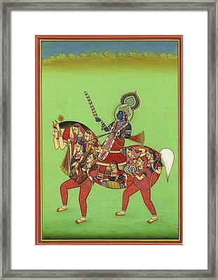 God Krishna, God Of Love And Beauty, Hindu Vedic Art, Indian Miniature Painting Watercolor Artwork Framed Print