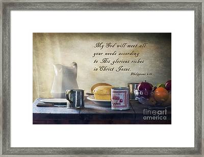 God Meets All Our Needs Framed Print by Priscilla Burgers