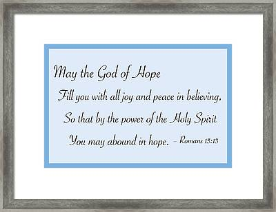 God Of Hope Framed Print by Greg Joens