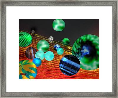 Framed Print featuring the digital art God Playing Marbles Tribute To Donovan by Seth Weaver