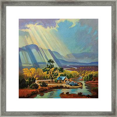 God Rays On A Blue Roof Framed Print by Art West