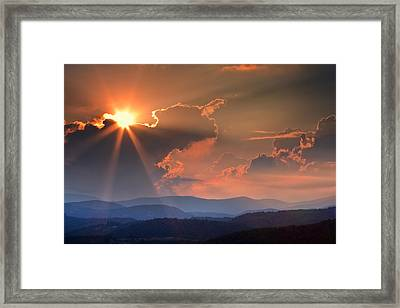 God Rays Over N C  Mountains Framed Print