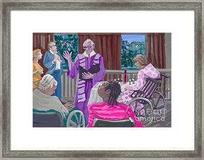 God Visits The Elderly Framed Print