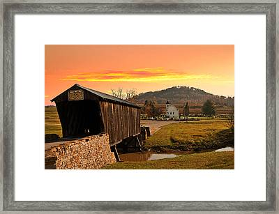 Goddard White Bridge And Church  Framed Print by Randall Branham