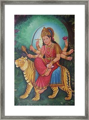 Goddess Durga, Ambe Maa, Aadishakti Painting, Goddess Of War,online Artwork, Oil Painting On Canvas. Framed Print by Jagannath