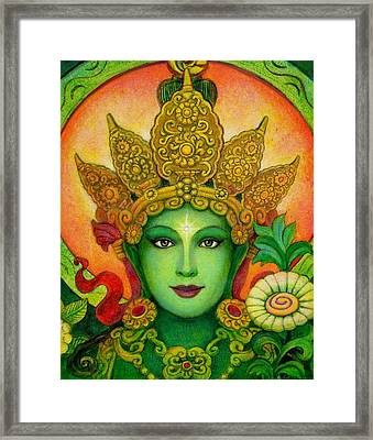Goddess Green Tara's Face Framed Print