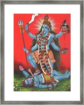 Goddess Kali Mata God Shiv,aadishakti, Miniature Painting Of India, Oil Painting, Artwork India. Framed Print by M B Sharma