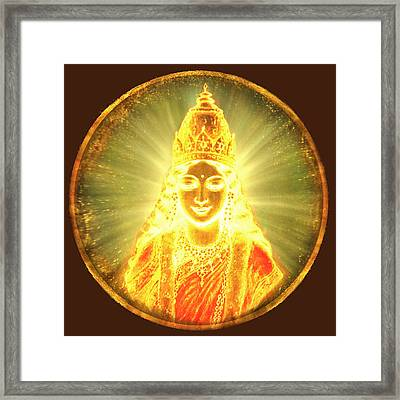 Goddess Of Light Round Framed Print by Ananda Vdovic