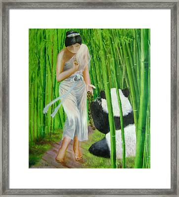 Goddess Of Mercy And Panda Framed Print by Lian Zhen