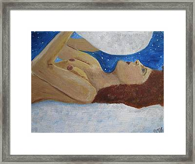 Framed Print featuring the painting Goddess Of The Moon by Barbara Giordano