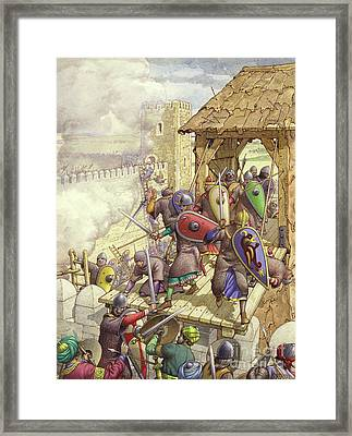 Godfrey De Bouillon's Forces Breach The Walls Of Jerusalem Framed Print by Pat Nicolle