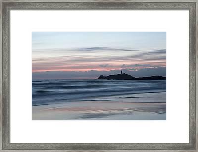 Godrevy Lighthouse From The Beach Framed Print by Pete Hemington