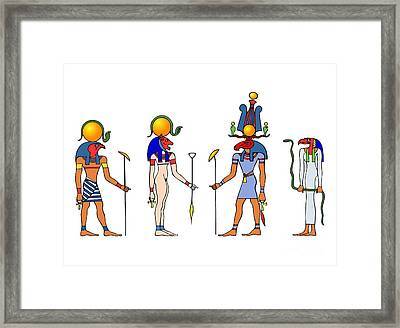 Gods And Goddess Of Ancient Egypt Framed Print by Michal Boubin