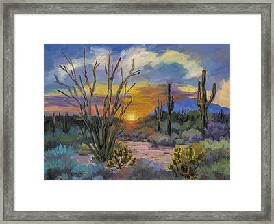 God's Day - Sonoran Desert Framed Print by Diane McClary