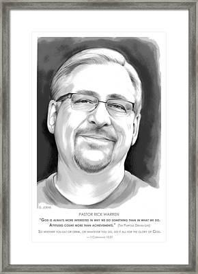 Pastor Rick Warren Framed Print by Greg Joens