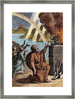 Gods Rainbow Answers Noahs Sacrifice Framed Print