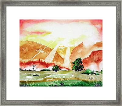 Framed Print featuring the painting God's Sunset by Tom Riggs