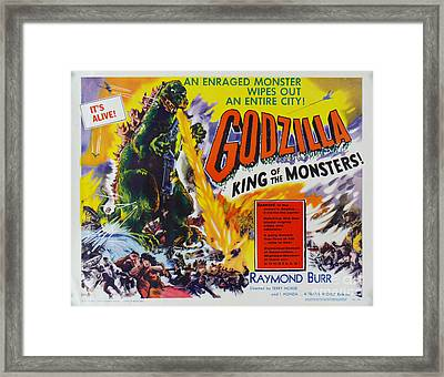Godzilla King Of The Monsters An Enraged Monster Wipes Out An Entire City Vintage Movie Poster Framed Print