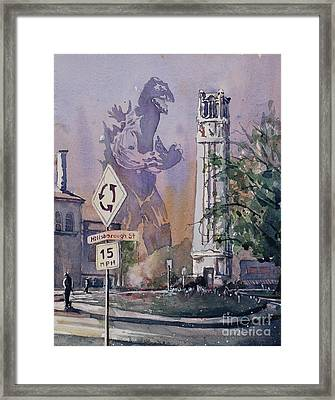 Framed Print featuring the painting Godzilla Smash Ncsu- Raleigh by Ryan Fox