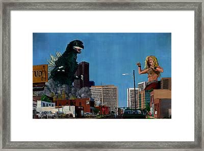Godzilla Versus Shakira Framed Print by Thomas Weeks