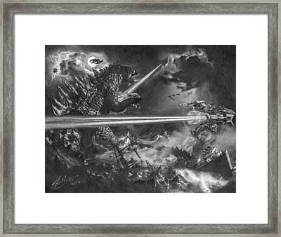 Godzilla Vs. Earth's Mightiest Heroes Framed Print