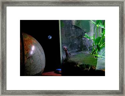 Godzilla Watches And The Moon Is Blue Framed Print