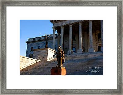 Goerge Washington In Front Of The Capitol Building In Columbia Sc Framed Print