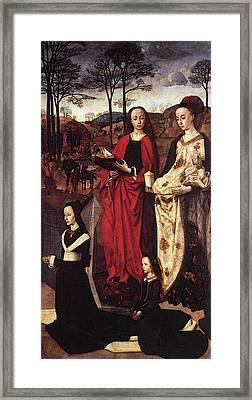 Goes Hugo Van Der Sts Margaret And Mary Magdalene With Maria Portinari Framed Print by Hugo van der Goes