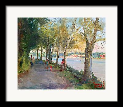 Dog Walking Framed Prints
