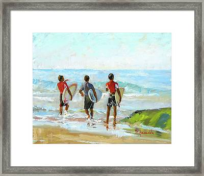 Going For The Surf Framed Print by Dominique Amendola