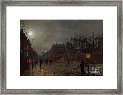 Going Home At Dusk Framed Print by John Atkinson Grimshaw