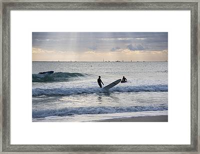 Going Surfing On Miami Beach Florida Sunrays Mid Fall Framed Print by Toby McGuire