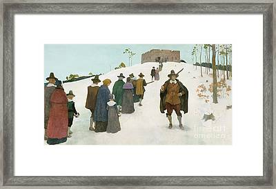 Going To Church Framed Print by Newell Convers Wyeth