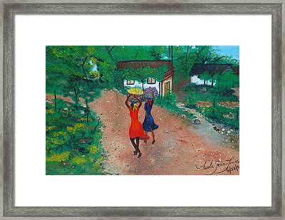 Framed Print featuring the painting Going To The Marketplace 1 by Nicole Jean-Louis