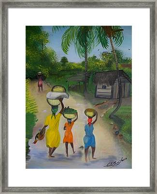 Framed Print featuring the painting Going To The Marketplace 2 by Nicole Jean-Louis