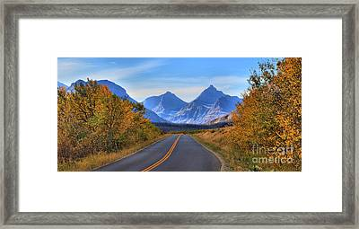 Going To The Sun Road Fall Foliage Framed Print by Adam Jewell