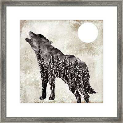 Going Wild Wolf Framed Print by Mindy Sommers