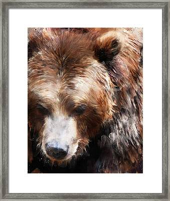 Bear // Gold Framed Print