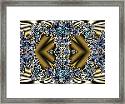 Gold And Blue Series Number Five Framed Print by Mark Lopez