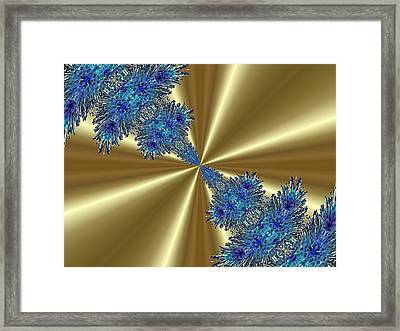 Gold And Blue Series Number One Framed Print by Mark Lopez
