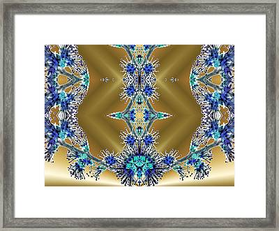 Gold And Blue Series Number Two Framed Print by Mark Lopez