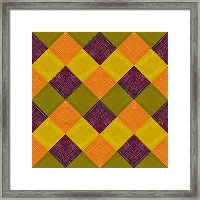 Framed Print featuring the painting Gold And Green With Orange 2.0 by Michelle Calkins