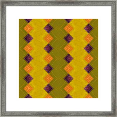 Framed Print featuring the painting Gold And Green With Orange  by Michelle Calkins